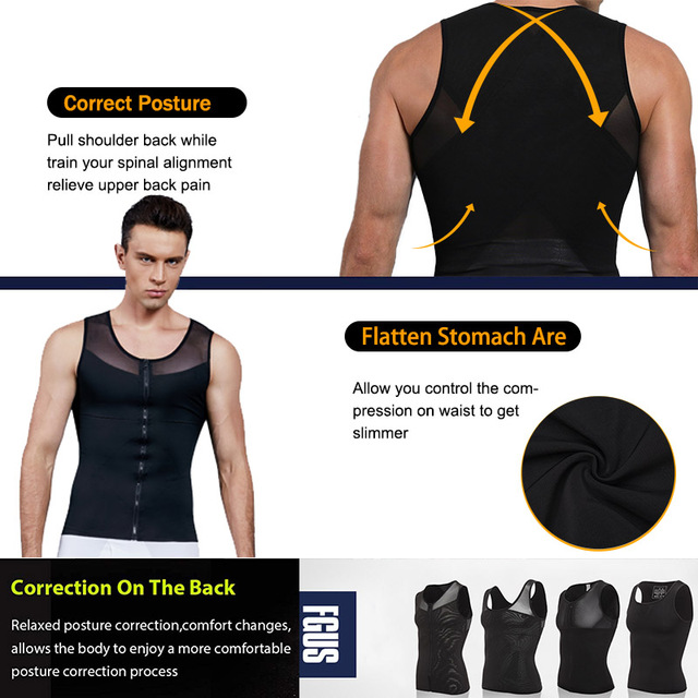 Men Slimming Body Shaper Bodysuit Compression Shirts Waist Trainer Corrective Posture Sweat Vest Corset Man Belly Belt 5