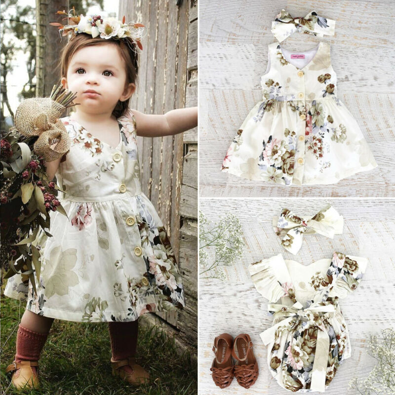 Family Clothing Kids Baby Girl Clothes Big/Little Sister Floral Sleeveless Dress Romper Headband Outfit