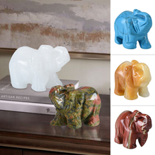 Elephant Figurines Craft Carved Natural Stone Animals Statue For Decor tabletop animal modern craft