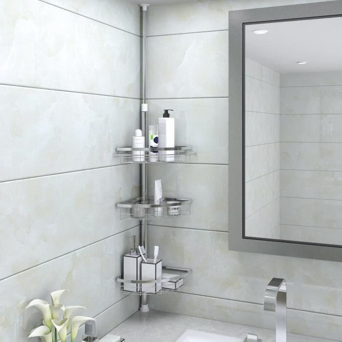 110-280cm Stainless Steel Bathroom Shelf 3 Shelves Telescopic Adjustable Shower Shelf Hardware Bathroom Fixture HWC
