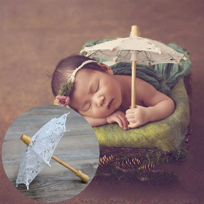 Newborn Baby Photography Props Embroidery Lace Umbrella Toy Infant Shooting Photo Prop Tools