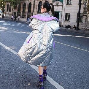 Image 2 - Ftlzz 新冬のジャケットの女性白アヒルダウンパーカー女性スタンド襟厚くコートシルバー黒雪ダウン生き抜く