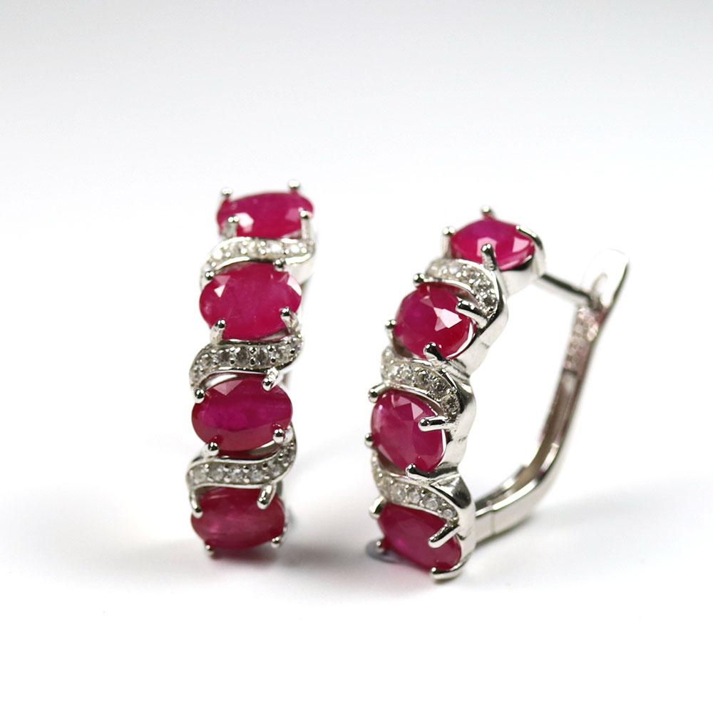 2020 New Natural Ruby Earring 5ct Oval 4*6mm Real Gemstone Clasp Earring 925 Sterling Silver Fine Jewelry For Women Mom Gift