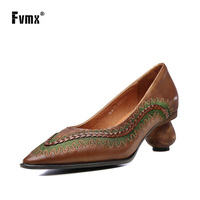 FVMX 2020 New Retro Hand embroidered Soft faced Cowhide High Heels Shoes Ethnic Style Pointed Spring and Summer New Women Pumps