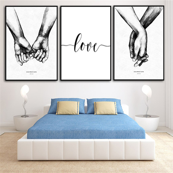 Nordic hand in hand Sweet Love Wall Art Canvas Poster Minimalist Print LOVE Quotes Painting Picture for Living Room Decor