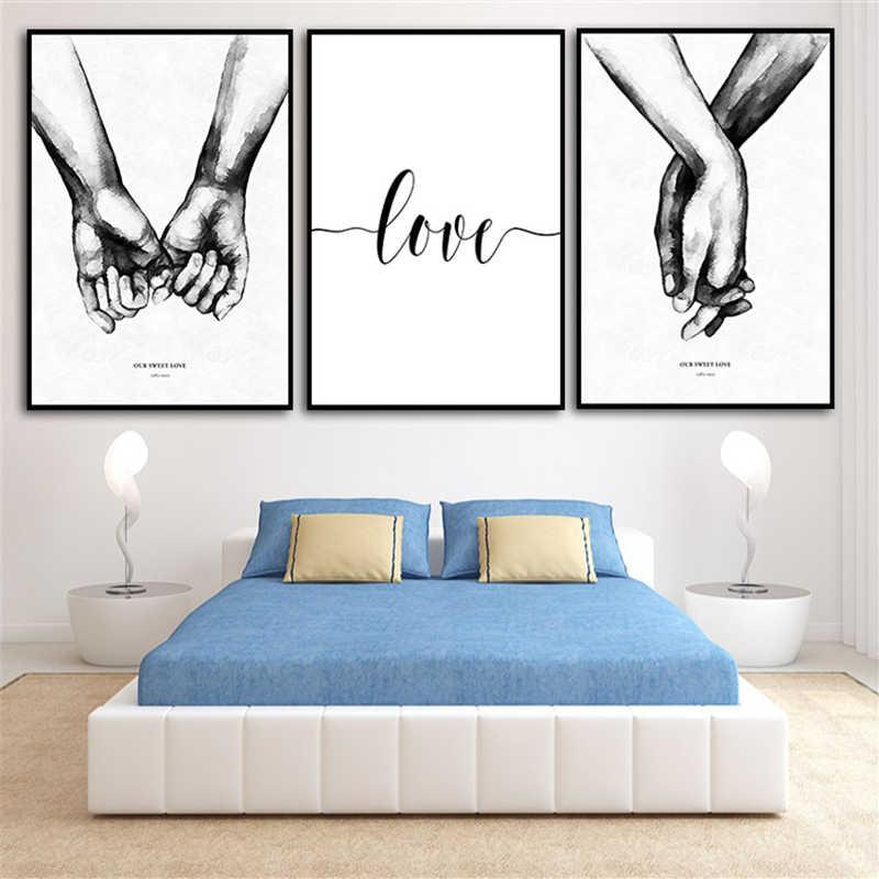 الشمال اليد في اليد الحلو الحب جدار الفن قماش المشارك الحد الأدنى طباعة الحب Quotes اللوحة صورة لغرفة المعيشة ديكور