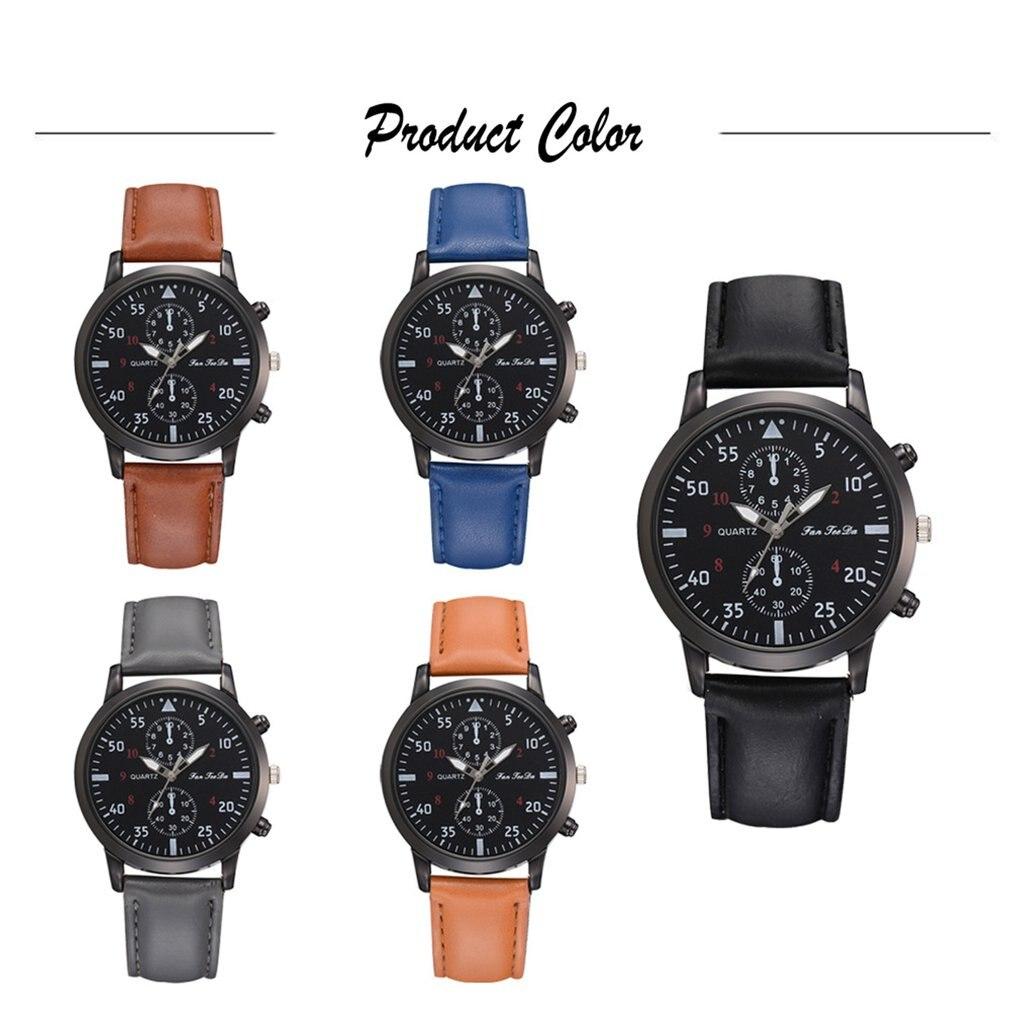 High Quality PU Strap Fashionable Analog Quartz Watch Business Casual Watch Black Dial For Men Boys Bracelet Decor