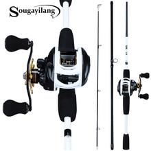 Sougayilang 1.75m Fishing Rod Combo 3 Section Carbon Casting Fishing Rod with 12+1BB Baitcasting Reel Fishing Tackle Kit