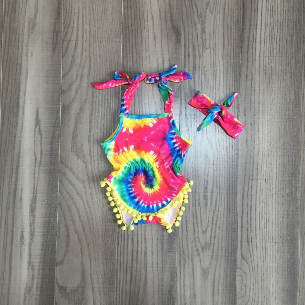 Baby Girls Clothes Girl Summer Romper Baby Kids Toddler Sling Tie Dye Romper With Bow