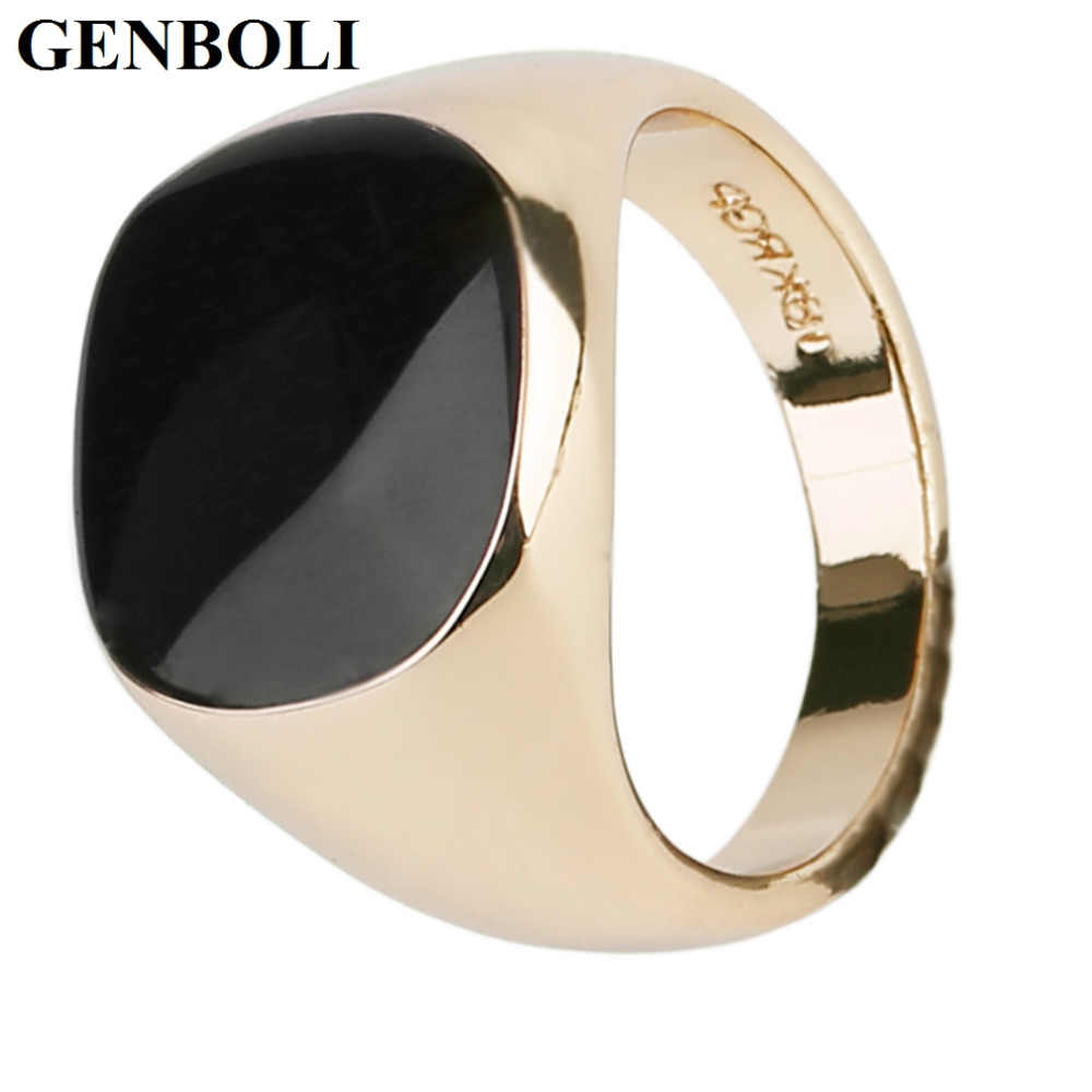 GENBOLI Gold And Silver Color Luxury Men Male Ring Jewelry Titanium Steel Domineering Obsidian Party Club Ring Jewelry 1 Pcs A35