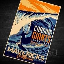Póster Retro de Giants Mavericks Vintage de viaje, Surf, Playa, lienzo DIY, pegatinas de pared, arte, Bar, carteles de Decoración, regalo