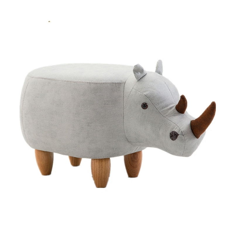 H1 Rhinoceros Stool Animal Test Shoe Bench Solid Wood Shoes Stool Home Storage Stool Sofa Stool Ottoman Baby Chair Cheap