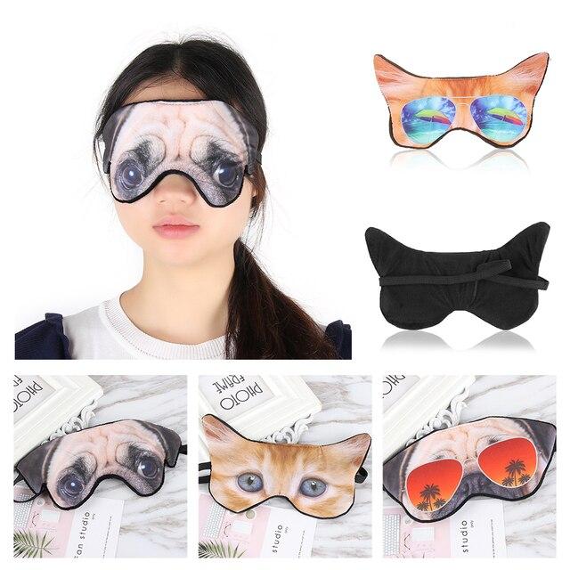 1 PC Cute Animal Shade Relax Nap Eye Cover Cartoon 3D Animal Dog Cat Sleep Eyeshade Eye Mask Eyepatch Blindfold for Travel 2