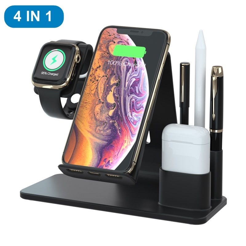Tongdaytech 4 in 1 Qi Wireless Charger For iPhone X XS Max Quick Charge 3.0 Fast Charge Stand For Apple Airpods Watch 5 4 3 2 1-in Mobile Phone Chargers from Cellphones & Telecommunications