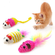 1 pcs Multi-color Mouse Shape Natural Sisal Pet  Funny Catnip Balls Gift Value Feather Small Cat Supplies Toy