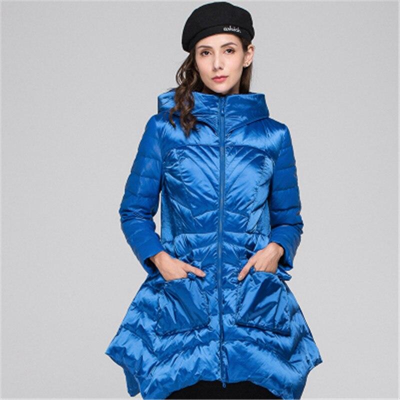 2019 nueva chaqueta de invierno para mujer de sección larga de moda salvaje con capucha de gran oscilación de chaqueta de cintura delgada 5