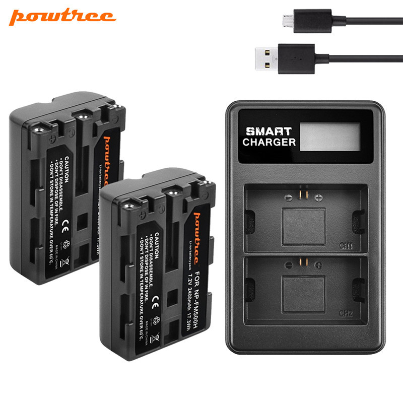 Powtree 2400mAh NP-FM500H NP FM500H Camera Battery + USB Charger Replacement For Sony A57 A58 A65 A77 A99 A550 A560 A580