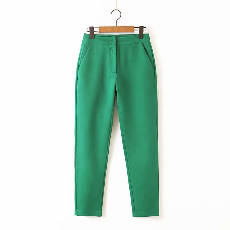Women Stylish Solid Color Slimming Pencil Pants Female Casual Ankle Length Trousers Office Wear Pockets Pantalones Mujer P543