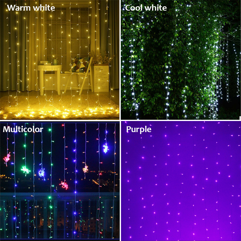 Image 3 - 10mx3M LED Wedding Party patio Decor fairy Light christmas garland dimmable LED Curtain outdoor string Light for home new year-in LED String from Lights & Lighting on