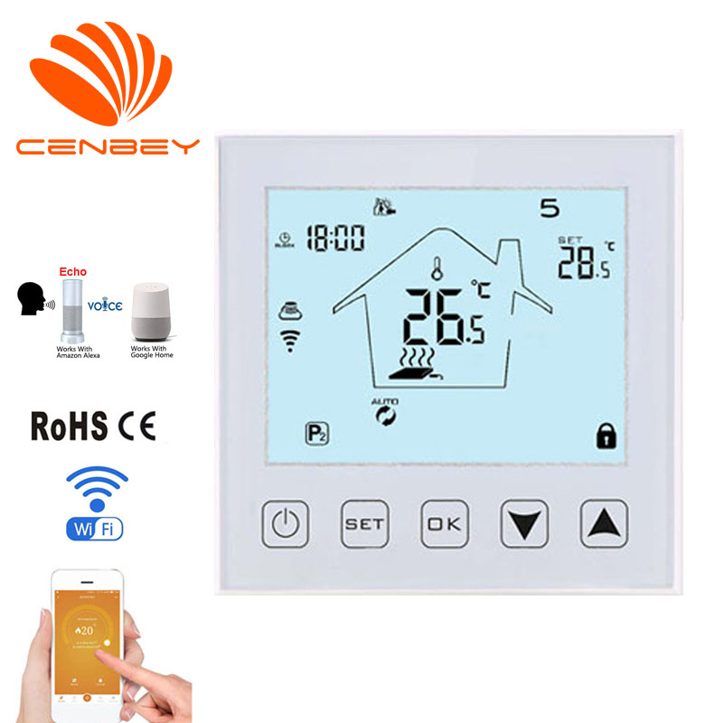 Wifi Thermostat Smart Thermostat Alexa Boiler Temperature Controller Underfloor Heating Thermostats Programmable Room Thermostat