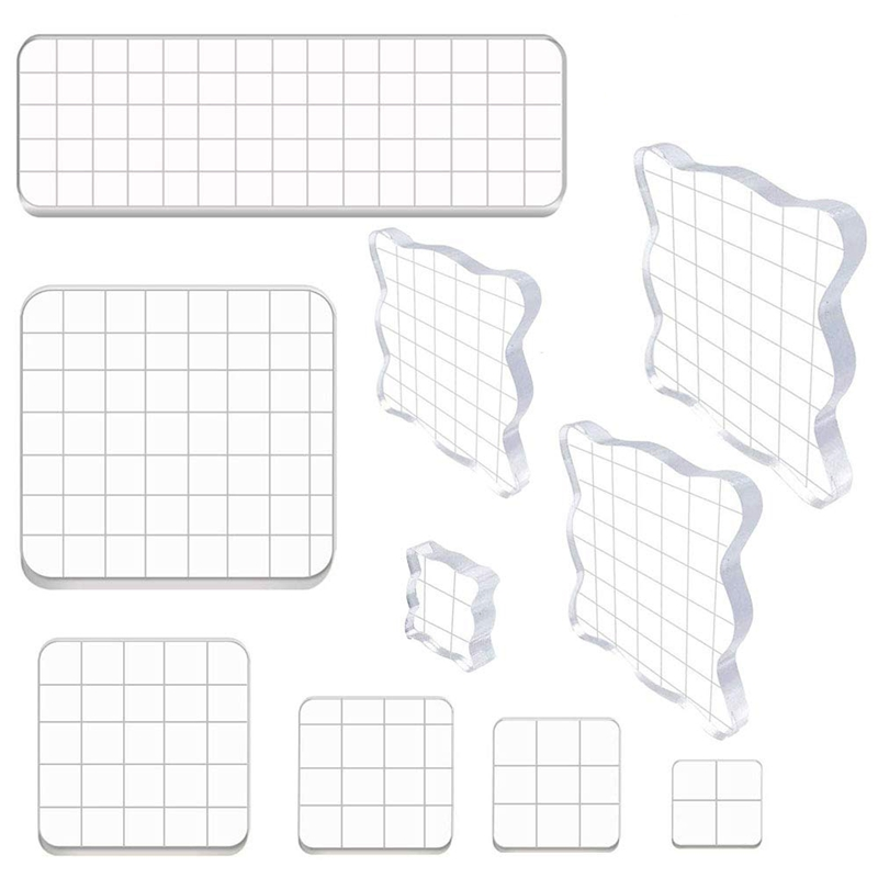 HOT-10 Pieces Stamp Blocks Acrylic Clear Stamping Blocks Tools With Grid Lines For Scrapbooking Crafts Making,Assorted Sizes