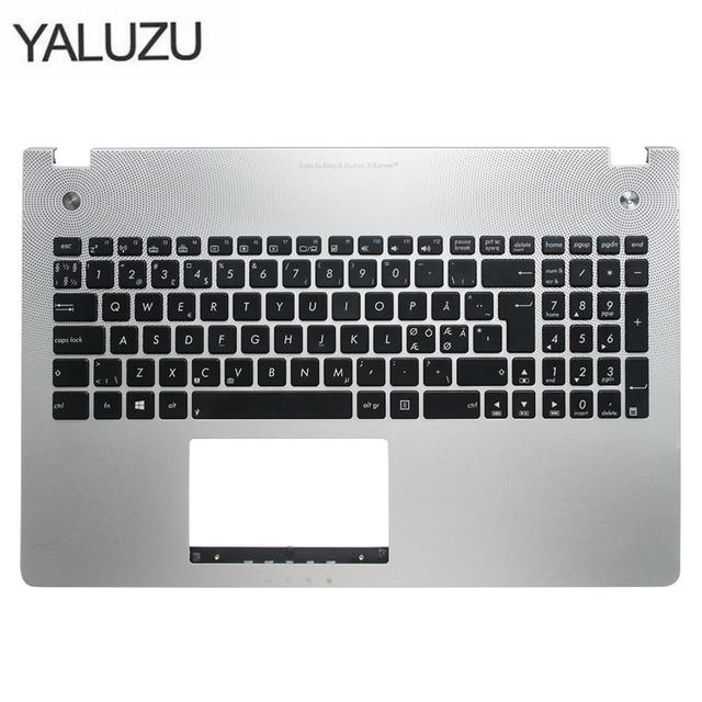 Nouveau nouveau clavier dordinateur portable lunette pour ASUS N56 N56V N56VM N56VZ N56SL argent Topcase Palmrest boîtier supérieur C coque rétro éclairage