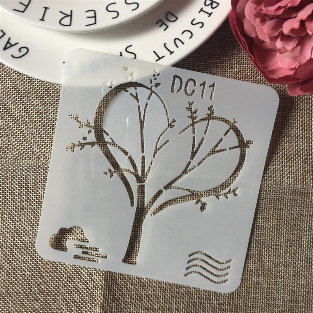 1Pcs 13cm Tree Love Heart DIY Craft Layering Stencils Wall Paint Scrapbook Stamp Embossing Album Decorative Card Template