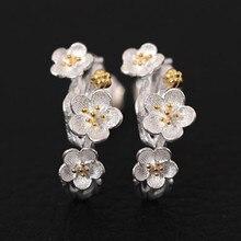 925 Sterling Silver Earrings Plum Flower Stud For Women Popular Elegant Temperament Fashion Ear Jewelry