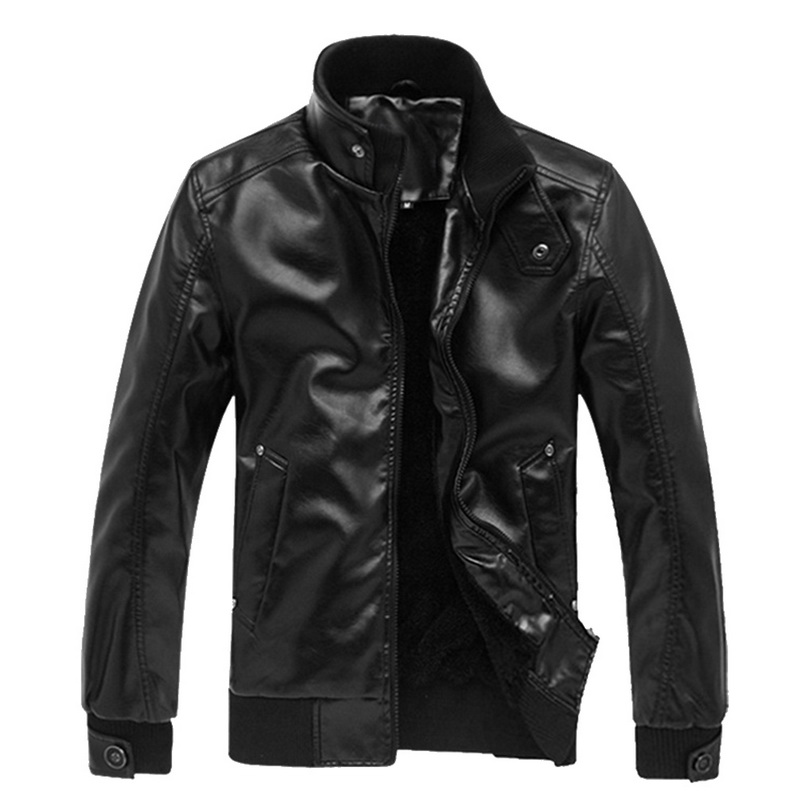 2019 Autumn New Leather Jacket Fashion Male Stand Collar Motorcycle Coats Winter Warm Brand New Casual Solid Slim Clothes Men