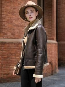 Image 2 - AYUNSUE Leather Jacket Natural Wool Fur Coat Winter Jacket Women Genuine Sheepskin Coat Female Streetwear Bomber Jackets MY4592