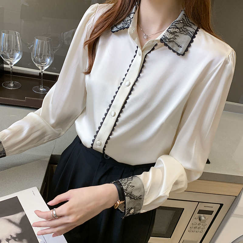 Women Silk Shirts White Silk Blouse Shirt for Women Long Sleeve Shirts Blouses for Woman Lace Satin Shirt Ladies Tops Plus Size