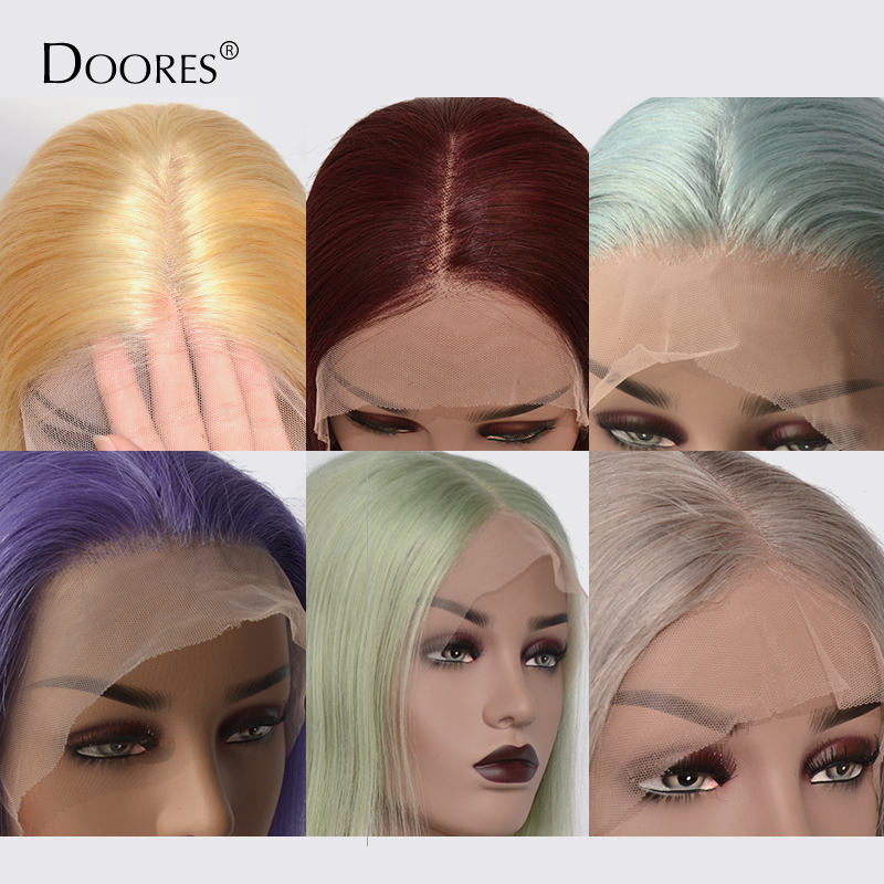 Cheap 613 Lace Front Bob Wigs Ombre 99j Grey Pink Human