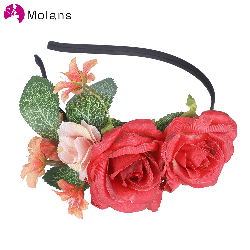 MolansNew Summer Women Bezel Flower Crown For Bridal Floral Headband Wreath Wedding Hair Accessories Bridesmaid Tiara