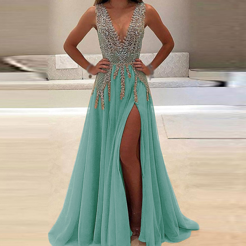 Women-Dress-Bridesmaid-Ball-Long-Sundress-Fashion-Prom-Maxi-Wedding-V-Neck-Formal-Sleeveless-Casual-Split (4)