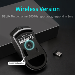 Image 4 - Delux M800 RGB 2.4Ghz Wireless + Wired Gaming Mouse Dual Mode 16000 DPI Lightweight Ergonomic 1000Hz Mice with Soft rope Cable