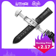 US $2.17 39% OFF|UTHAI Z09 Genuine Leather Watchbands 12 24mm Universal Watch Butterfly buckle Band Steel Buckle Strap Wrist Belt Bracelet + Tool-in Watchbands from Watches on AliExpress - 11.11_Double 11_Singles' Day
