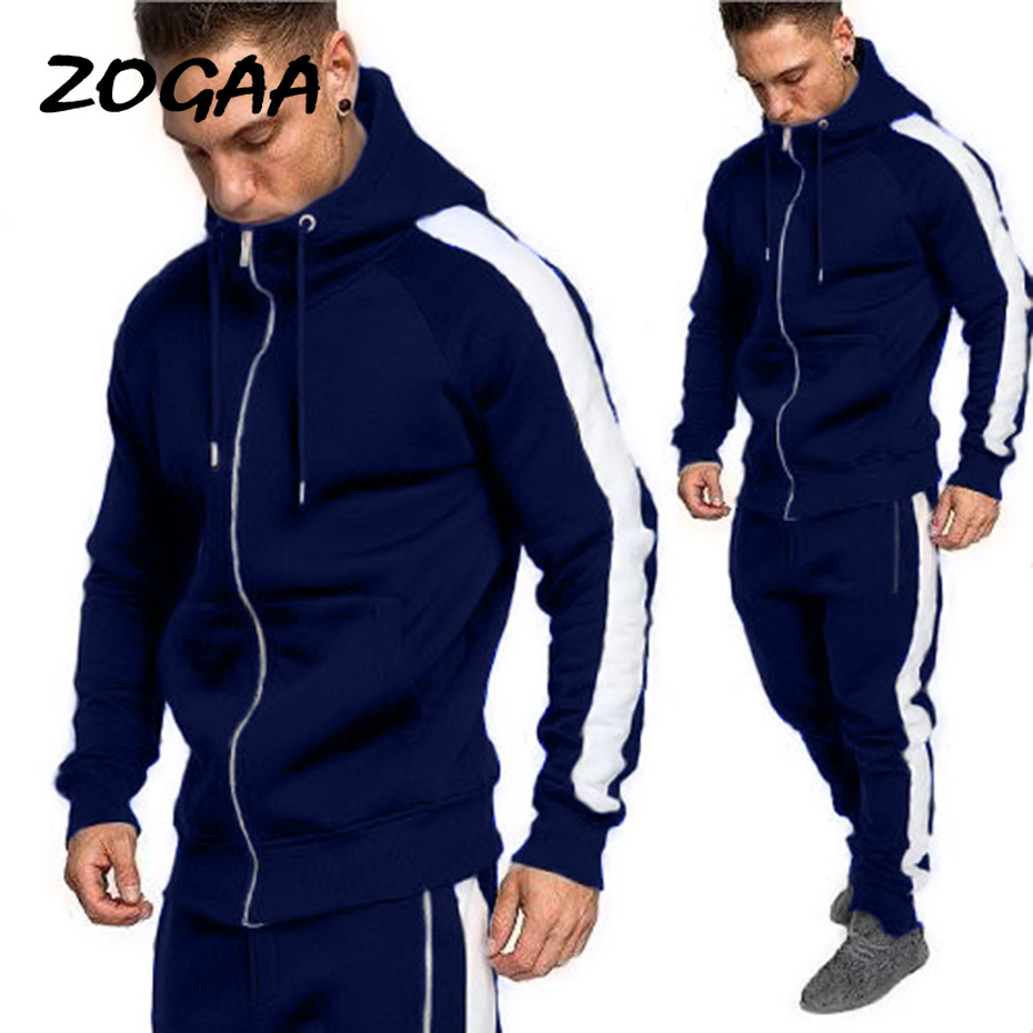 ZOGAA 2020 New Men Tracksuit Autumn Active Suit Set Outwear Hooded Hoodies And Long Pants Casual Cotton Zipper Fly Tracksuit
