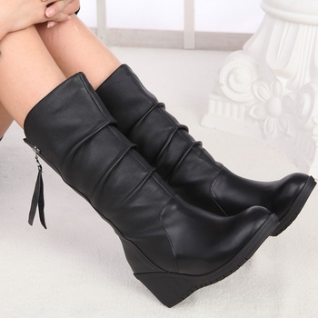 Platform Wedge Boots Women Black Winter Shoes Autumn High Boots Womens Wide Mid-Calf Boots Ladies Leather Tall Boots Plus Size42 brand women boots pointed toe flat shoes autumn winter purple blue orange boots short ladies western mid calf boots for women
