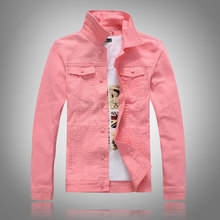 Chaquetas coreanas de moda para hombre, chaquetas entalladas de tela vaquera informales simples, color rosa, blanco, rojo, verde, para hombre, chaquetas de diseño Vintage para mujer