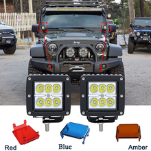 ECAHAYAKU 18W  4 spot Flood LED Work Light With Yellow BLUE RED Cover For Off Road SUV Boat 4x4 Jeep Lamp Off-road Lighting Atv