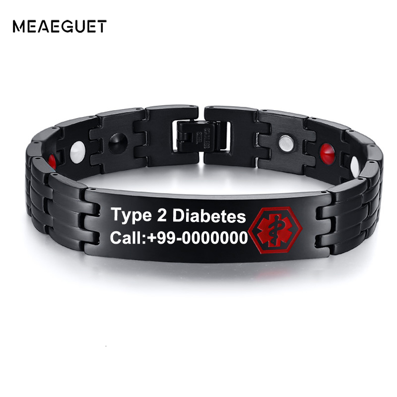 Free Engraving Stainless Steel Diabets Men's Medical ID Bangle Bracelet Type 2