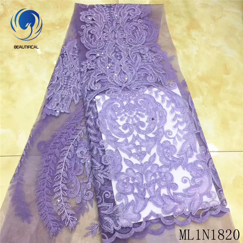 BEAUTIFICAL African lace fabrics Latest embroidery design tulle lace with sequins 5yards nigerian net lace for dress ML1N1820