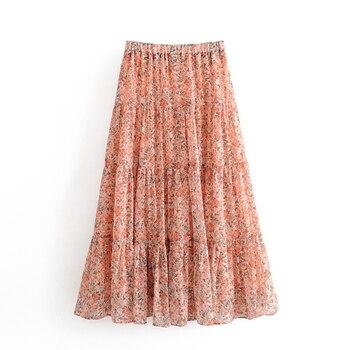 Boho Styles Floral Skirt Women Summer Elastic High Waist Pleated Long Skirt Holiday Beach Chiffon Skirts Ropa Mujer box pleated chiffon skirt