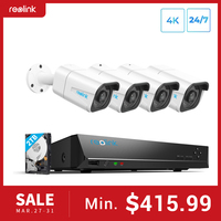 Güvenlik ve Koruma'ten Gözetim Sistemi'de Reolink 8MP 4K Ultra HD güvenlik kamera sistemi 8ch PoE NVR ve 4 PoE IP kameralar gözetim NVR kiti 2TB HDD RLK8 800B4
