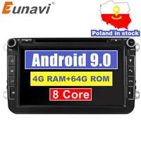 Eunavi 2 din Android 9 Octa Core 4GB 64GB Car DVD for VW Passat CC Polo GOLF 5 6 Touran EOS T5 Sharan Jetta Tiguan GPS Radio DSP
