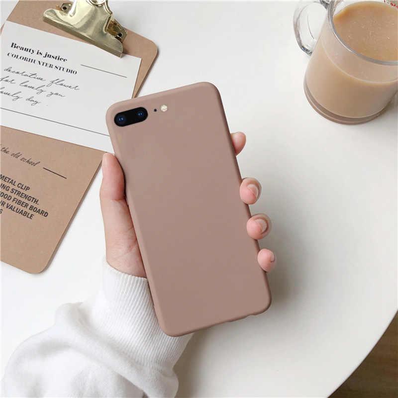 Brown Matte Telefoon Case Voor iphone 11 Pro XS Max XR X 8 7 6S 6 Plus SE 5 5S Siliconen Gevallen Effen Kleur Zachte TPU Cover