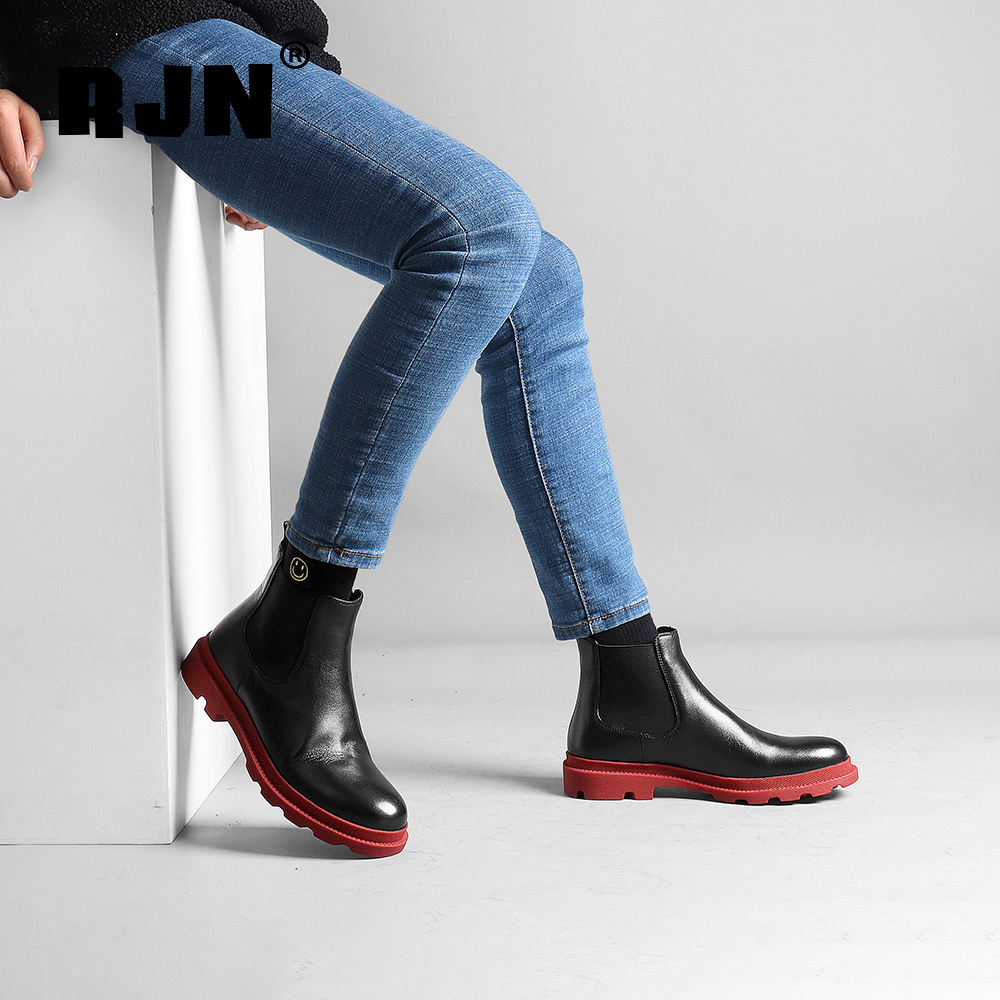 Buy RJN Chelsea Boots Classic High Quality Genuine Leather Round Toe Low Color Heel Casual Shoes Women Ankle Boots For Winter R25