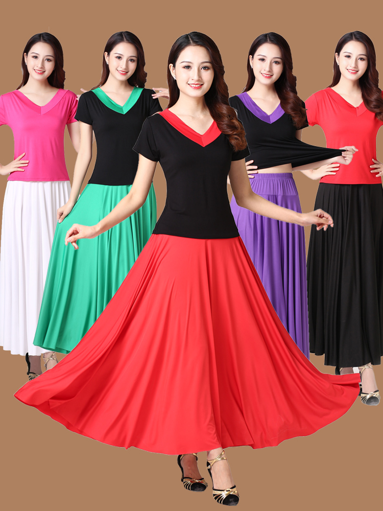 Female Belly Stage Performance Skirt Woman Flamenco Festival Dance Costumes7colors Solid Flamengo Ballet Ballroom Costumes Women