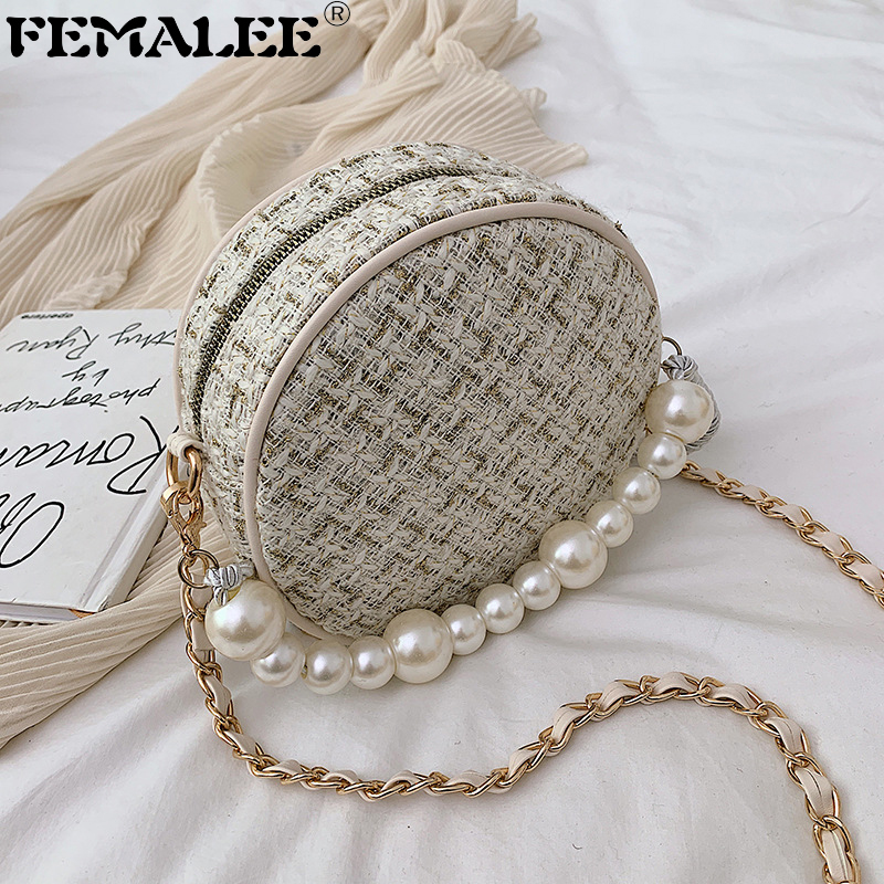 2019 Bolsos Fashion Women Message Bags Round Shoulder Bag Designer Crossbody Tweed Bags For Women Pearls Chain Bag Sac A Main