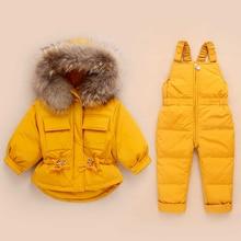 Rússia inverno crianças conjuntos de roupas macacão jaquetas de neve + bib pant 2 pçs conjunto bebê menino meninas pato para baixo casacos jaqueta com capuz de pele